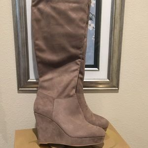 NEW! Charlotte Russe taupe wedge boots! Size 8